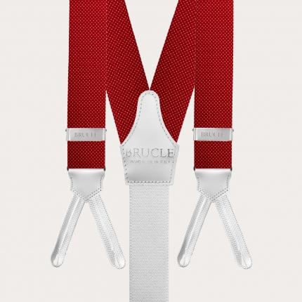 Bretelles et cravate en soie, rouge à pois