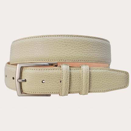 BRUCLE Cintura in pelle bottalata color crema