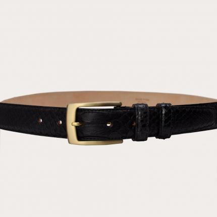 Genuine python belt with golden nickel free buckle, black