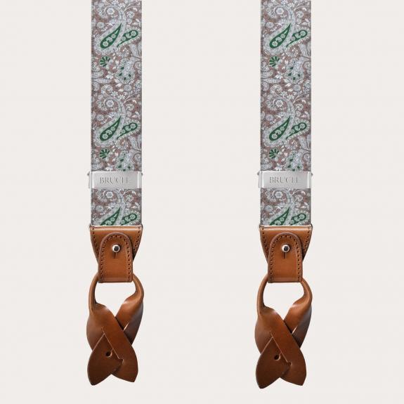 BRUCLE Bretelle elastiche doppio uso, fantasia cachemire marrone e verde