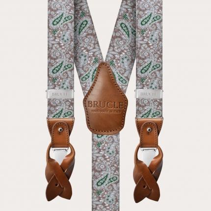 Elastische Hosenträger in Y-Form, braun und grünes Kaschmirmuster
