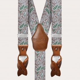 Y-shape elastic suspenders, brown and green cashmere pattern