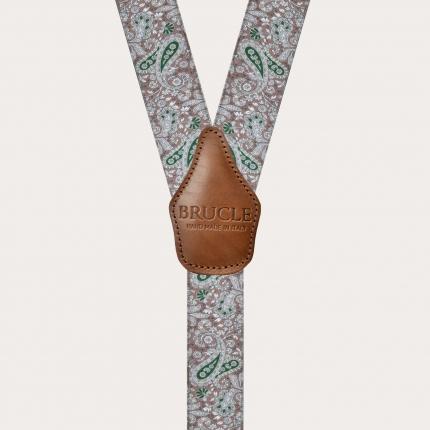 Bretelles élastiques en forme de Y, motif cachemire marron et vert