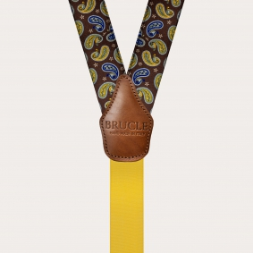 Y-shape suspenders with satin effect, brown paisley pattern