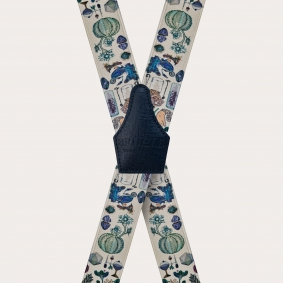 Unisex X suspenders with satin effect, alchemical pattern