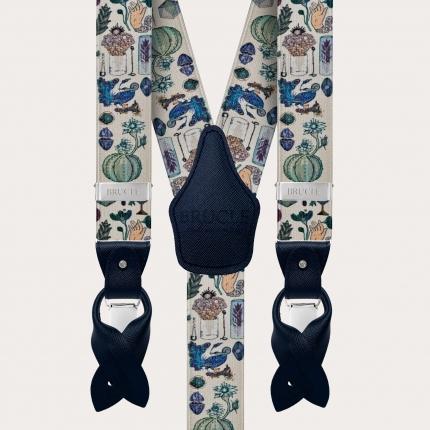 Y-shape elastic satin-effect suspenders, alchemical pattern