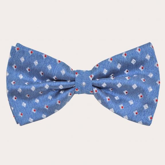 BRUCLE Bretelle e papillon in seta, azzurro con motivo a quadratini