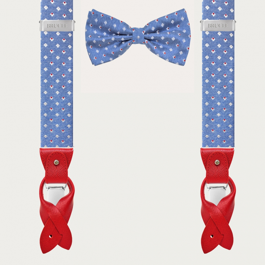 BRUCLE Silk suspenders and silk bowtie, blue with geometric pattern