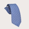 BRUCLE Silk suspenders and silk necktie, blue with geometric pattern