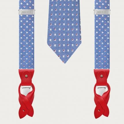 Silk suspenders and silk necktie, blue with geometric pattern