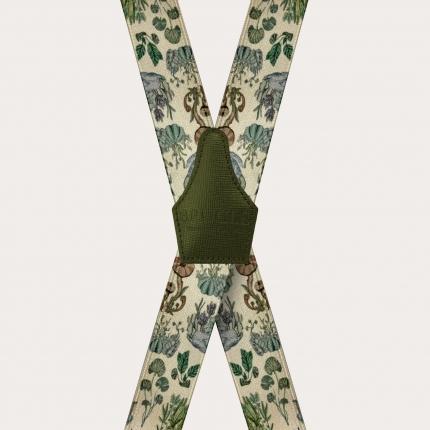 Unisex X Hosenträger mit Satin-Effekt, Pflanzen Muster