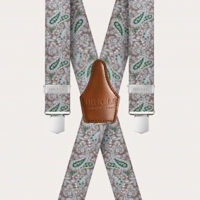 Unisex X suspenders with satin effect, brown and green cashmere pattern