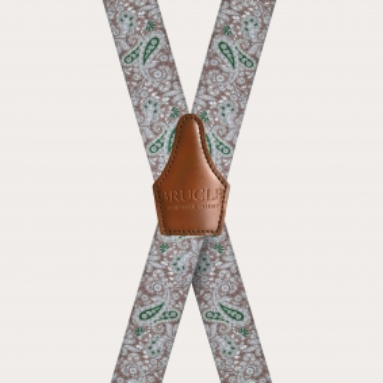 Unisex X Hosenträger mit Satin-Effekt, braun und grünes Kaschmirmuster