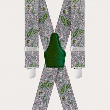 Bretelle unisex a X effetto raso, fantasia cachemire rosa e verde
