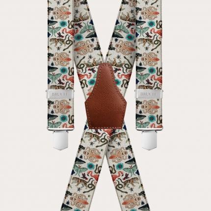 X-shape elastic satin suspenders, exotic animal pattern