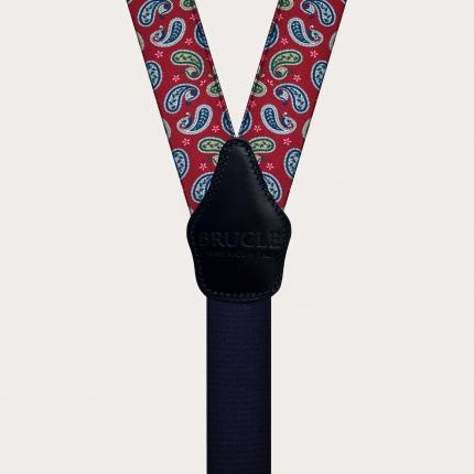 Unisex Y-Hosenträger mit Satin-Effekt, rotes Paisley-Muster