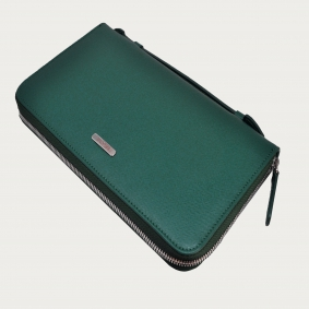 Green saffiano Leather wallet document holder with zip around