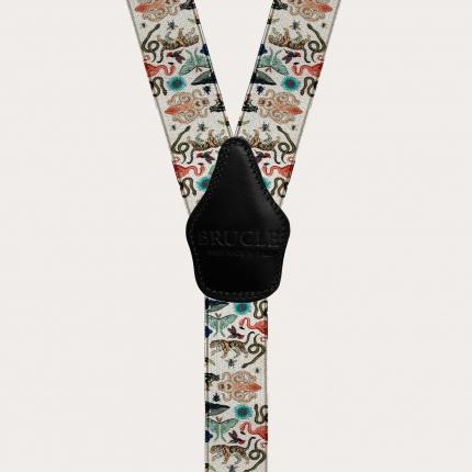 Y-shape elastic satin suspenders, exotic animal pattern