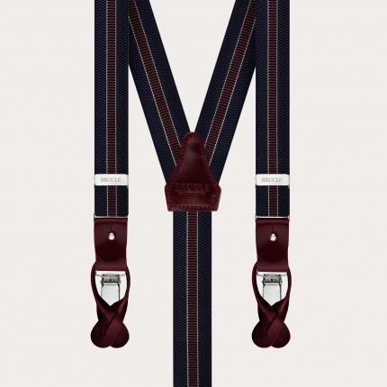 Y-shape elastic suspenders, blue and burgundy regimental