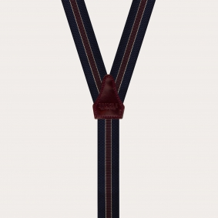 Bretelle strette uso bottoni o ganci a clip blu riga bordeaux