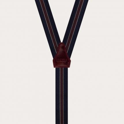 Bretelles élastiques en forme de Y, Regimental bleu et bordeaux