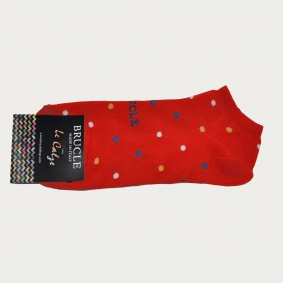 BRUCLE Ankle socks for the summer, red with polka dots