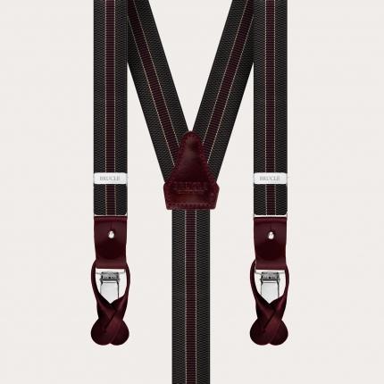 Y-shape elastic suspenders, green and burgundy regimental