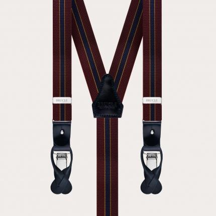 Y-shape elastic suspenders, burgundy and blue regimental