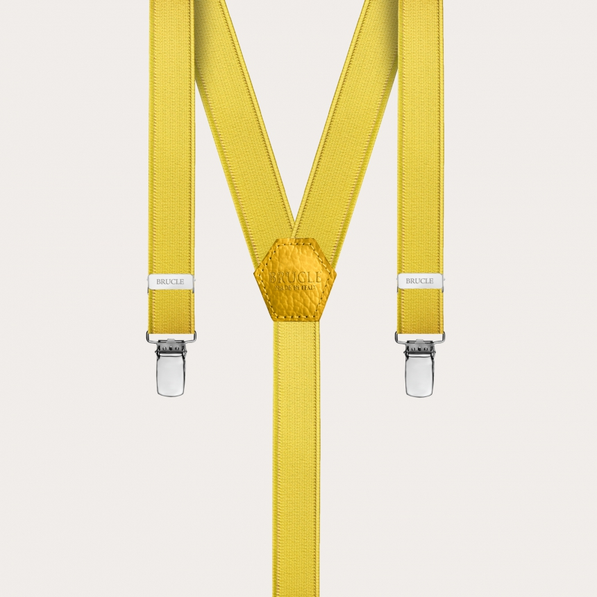 Formal skinny Y-shape elastic suspenders with clips, satin yellow