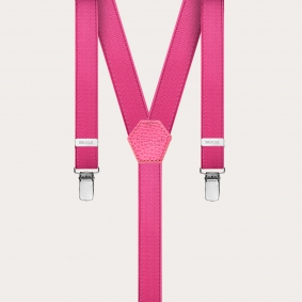 Formal skinny Y-shape elastic suspenders with clips, satin fuchsia
