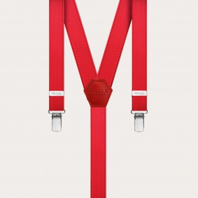Formal skinny Y-shape elastic suspenders with clips, satin red