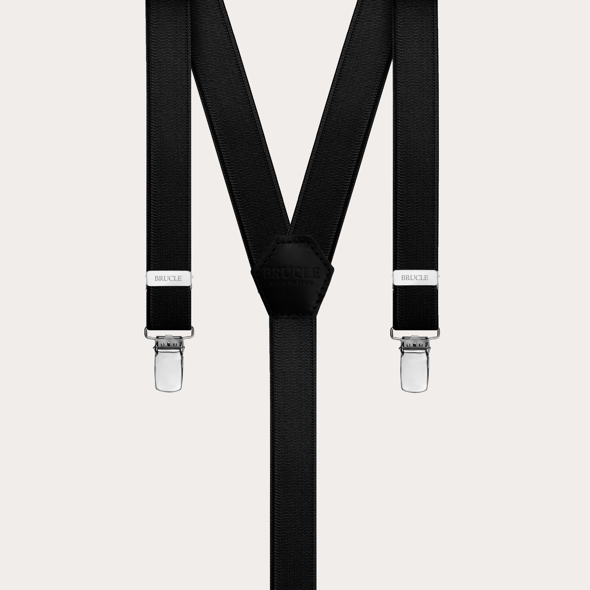 Formal skinny Y-shape elastic suspenders with clips, satin black