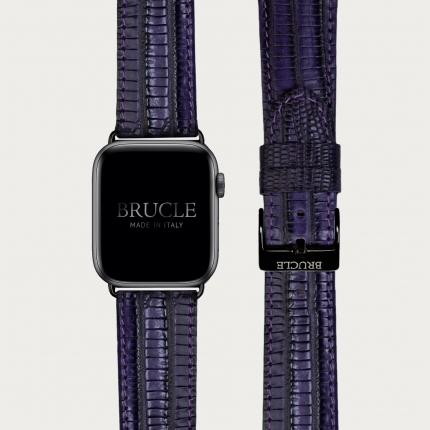 Brucle bracelet en cuir imprimé tajus violet compatible avec Apple Watch / Samsung smartwatch, brun foncé