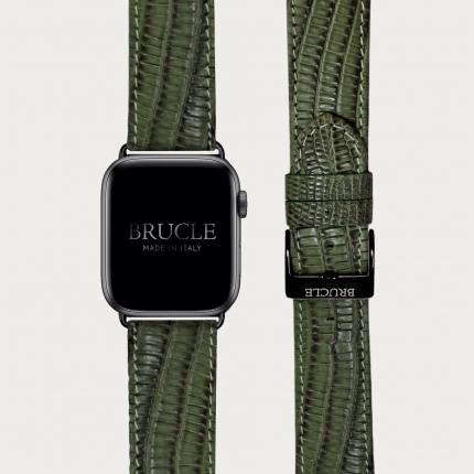 Bracelet en cuir pour montre, Apple Watch et Samsung smartwatch, imprimé tejus, vert