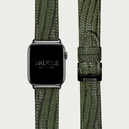 Brucle cinturino per orologio in pelle stampa tejus verde, Compatibile con Apple Watch / Galaxy Samsung