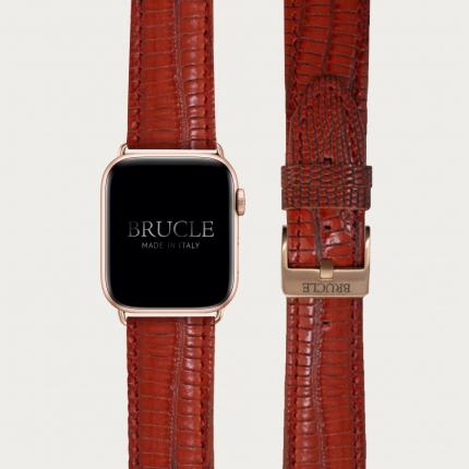 Bracelet en cuir pour montre, Apple Watch et Samsung smartwatch, imprimé tejus, rouge