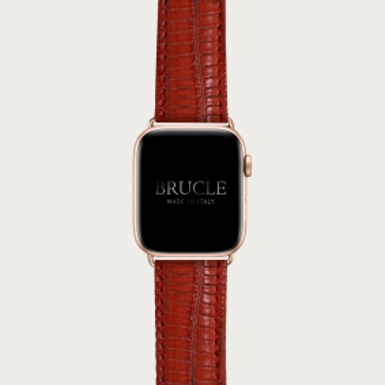 Cinturino rosso in pelle stampata per orologio, Apple Watch e Samsung Galaxy Watch