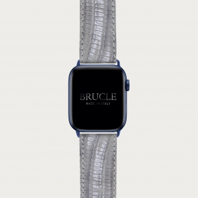 Leather Watch band compatible with Apple Watch / Samsung smartwatch, grey lizard print