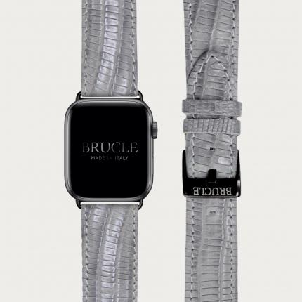 Bracelet en cuir pour montre, Apple Watch et Samsung smartwatch, imprimé tejus, gris
