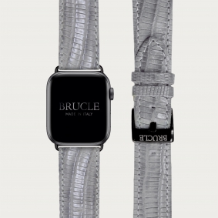 Cinturino grigio in pelle stampata per orologio, Apple Watch e Samsung Galaxy Watch