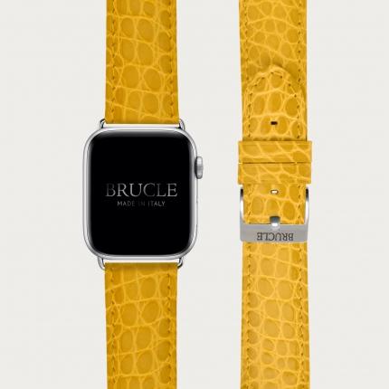 Brucle Bracelet en cuir pour montre, Apple Watch et Samsung smartwatch, alligator jaune
