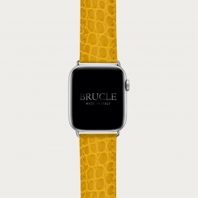 Leather Watch band compatible with Apple Watch / Samsung smartwatch, alligator yellow