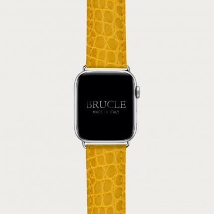 Brucle cinturino giallo in vera pelle alligatore per orologio, Compatibile con Apple Watch / Galaxy Samsung