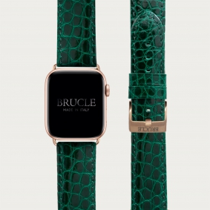 Brucle Bracelet en cuir alligator vert pour montre, Apple Watch et Samsung smartwatch, alligator verte