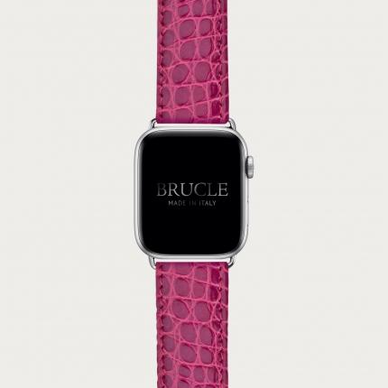 Brucle cinturino rosa in vera pelle alligatore per orologio, Compatibile con Apple Watch / Galaxy Samsung