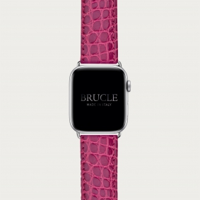 Leather Watch band compatible with Apple Watch / Samsung smartwatch, alligator pink