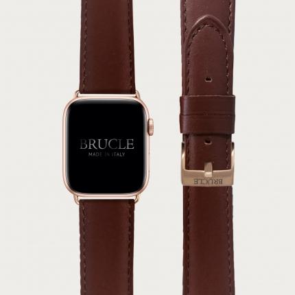 "Bracelet en cuir compatible avec Apple Watch / Samsung smartwatch, brun ""inglese"""