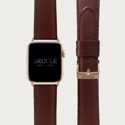 Cinturino marrone inglese in pelle per orologio, Apple Watch e Samsung Galaxy Watch