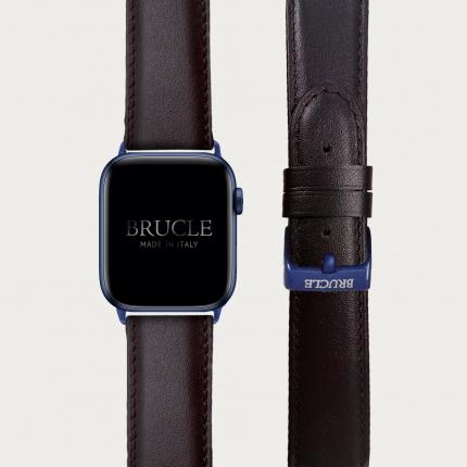 Bracelet en cuir compatible avec Apple Watch / Samsung smartwatch, brun foncé
