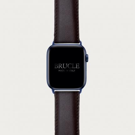 Cinturino marrone scuro in pelle per orologio, Apple Watch e Samsung Galaxy Watch